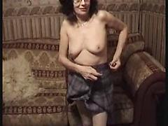 Sexy Granny Rubbing Her Wet Pussy After Stripping Her Outfit
