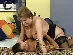 Horny Fat Mature Woman Gets Her Pussy Pumped By A Younger Guy