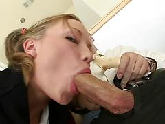 Young Pigtail Teen Girl Slurps Thick Throbbing Cock