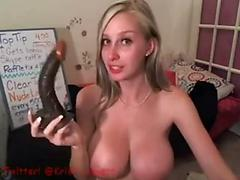 Amazing hot blonde with huge perfect tits riding dildos