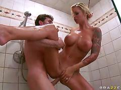 Gorgeous milf in sexy clothes enjoys soapy sex in the bathroom