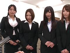 A group of unsatisfied Japanese office chicks fuck their coworkers