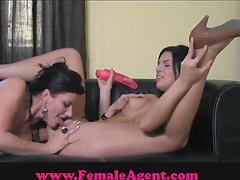 Long-haired babe gets licked by a hot female agent