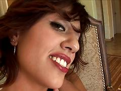 Sexy brunette Latina in heels takes off a thong for hard cock