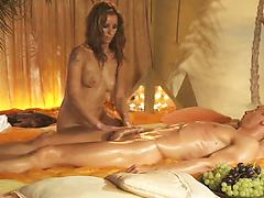 Long-haired nympho with slender body oils and massages her guy