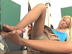 Rebecca Blue footsex in pantyhose