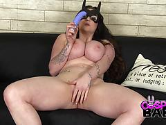 Bodacious Batgirl Plays With Her Tight Pink Pussy